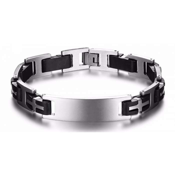 Bracelet personnalisé homme acier inoxydable gris noir