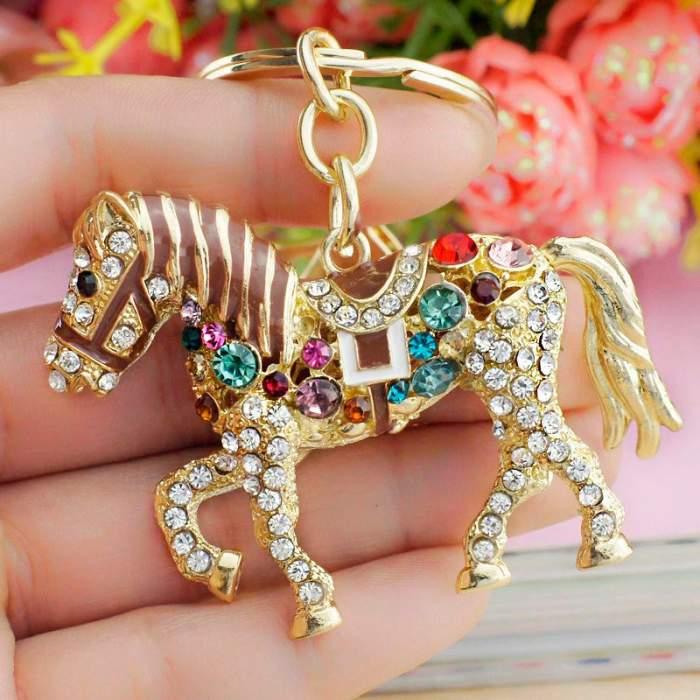 Porte-clés cheval brillant à personnaliser
