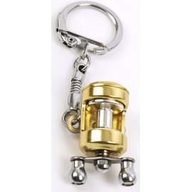Porte-clés moulinet canne à pêche doré