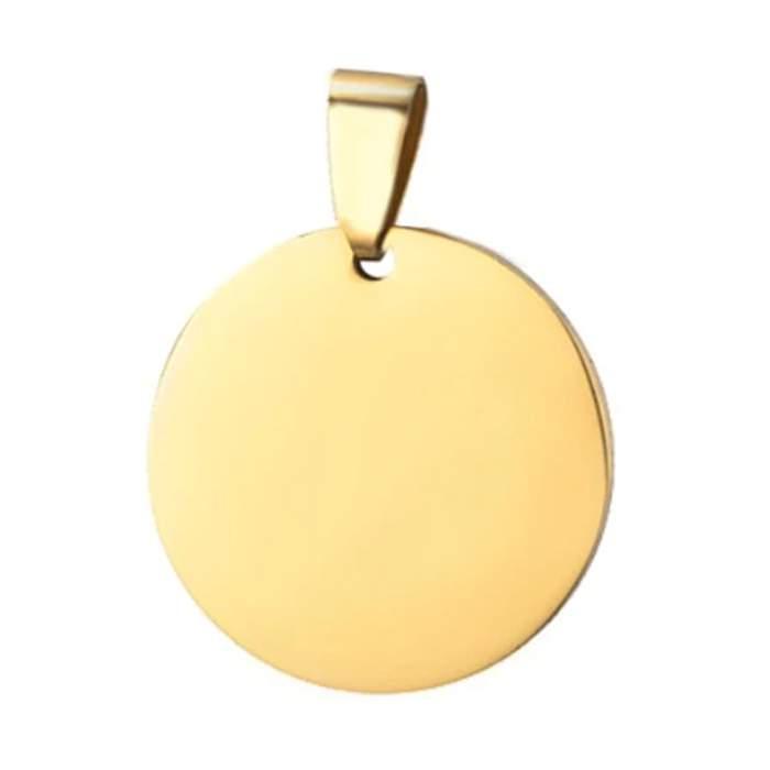 Médaille gravée imitation or avec chaine