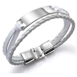 Bracelet homme torsadé en simili cuir multi-couches blanc à personnaliser