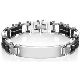 Bracelet personnalisé homme acier inox et silicone noir