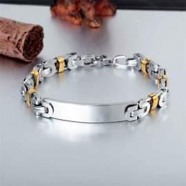 Bracelet gravé homme en inox gris et doré