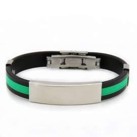 Bracelet gravé mixte bicolore - noir et vert