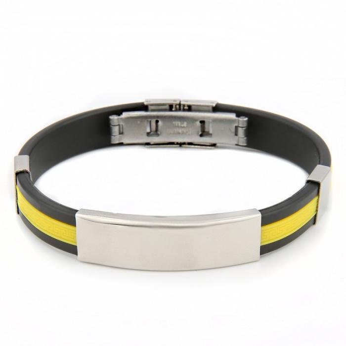 Bracelet gravé mixte bicolore - noir et jaune