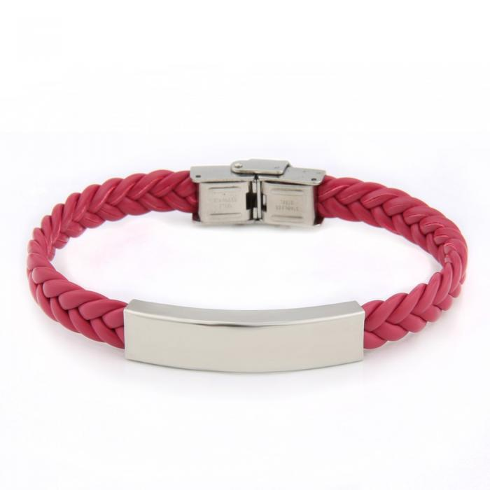 Bracelet torsadé rose en cuir