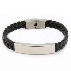 Bracelet torsadé noir en cuir