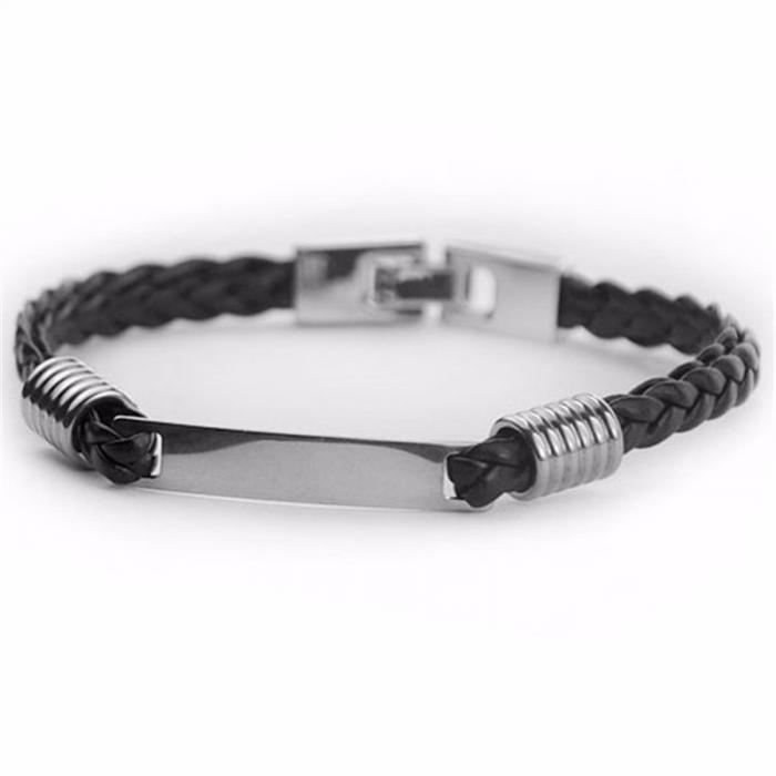 Bracelet gravé noir torsadé en cuir - homme