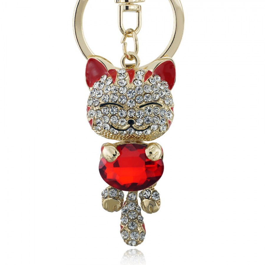 Porte cl s chat incrust de pierres personnaliser for Porte a chat
