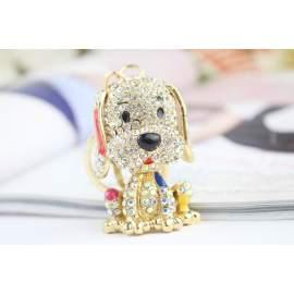 Porte-clés chien doré et brillant