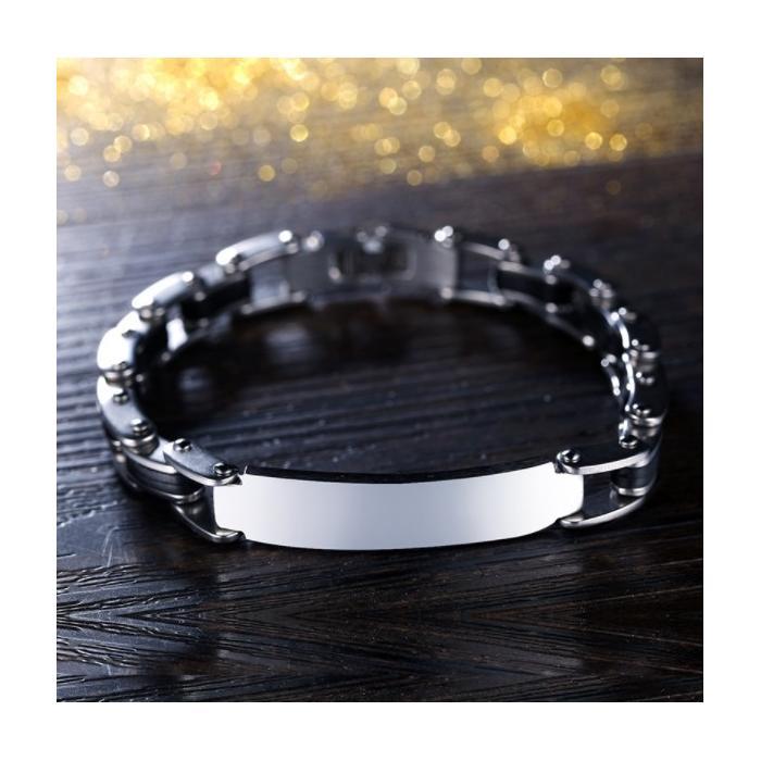 Bracelet homme gravé inox et silicone noir
