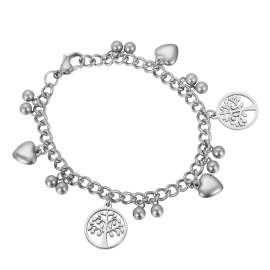 Bracelet gravé femme motif arbre et cœur