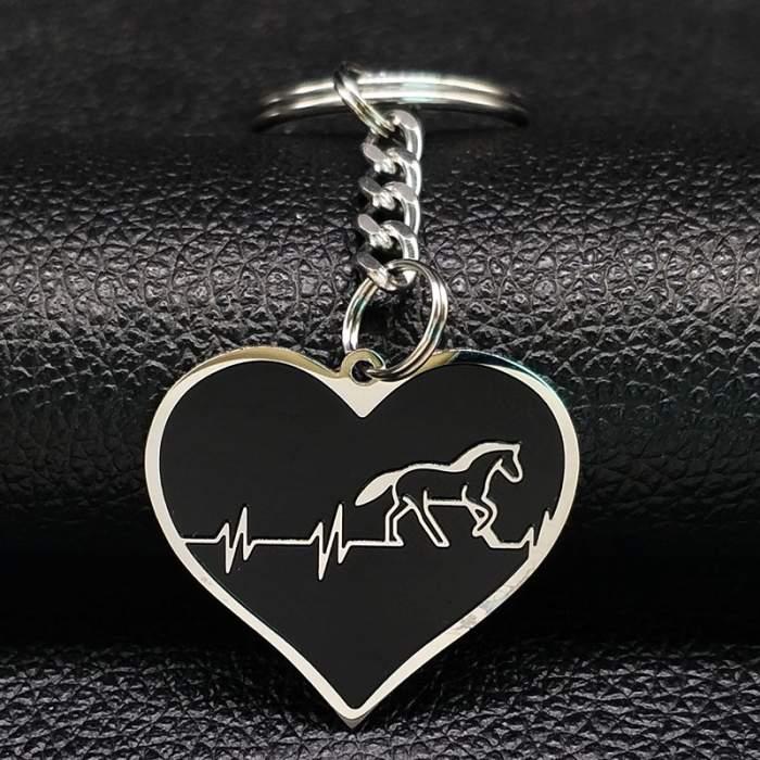 Porte-clés cœur motif cheval